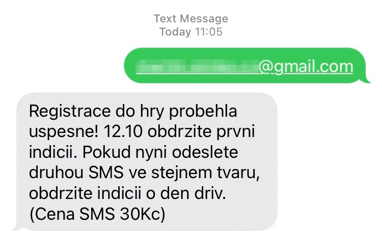 SMS registrace
